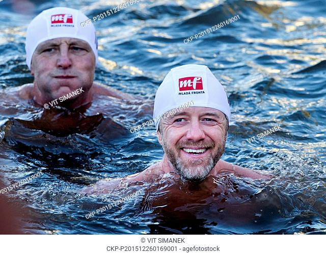 Christmas winter swimmers meet at 69th Alfred Nikodem Memorial Race in Prague, Czech Republic, on Saturday, December 26, 2015