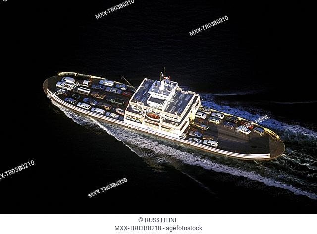 Aerial view of a BC ferry,/nBritish Columbia
