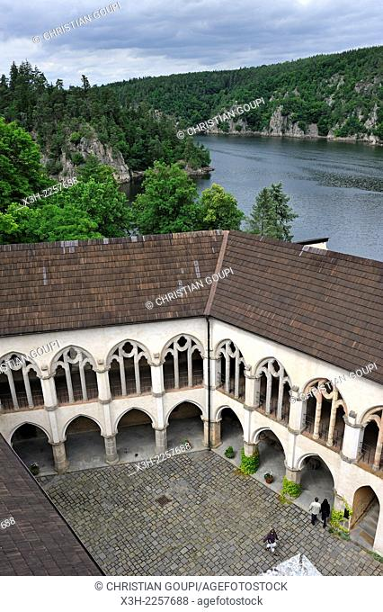 courtyard of Zvikov Castle at the confluence of the Vltava and Otava rivers, next to the village of Zvikovske Podhradi, district of Pisek, South Bohemian Region