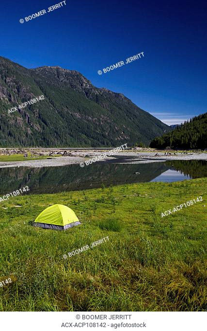 A lone bright green tent at the head of Buttle Lake in Strathcona Park provides stark contrast to a clear blue sky, Strathcona Park, Vancouver Island