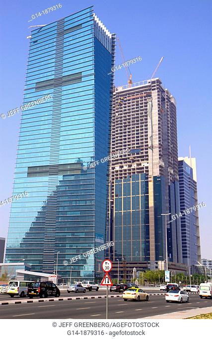 United Arab Emirates, U A E , UAE, Middle East, Dubai, Sheikh Zayed Road, Sama Tower, Duja Tower, under construction, skyscraper, traffic