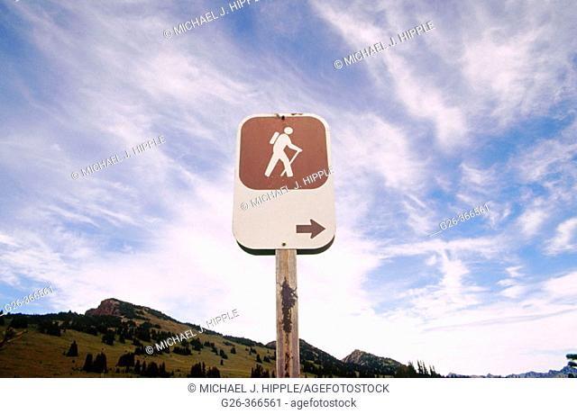 Hiking sign at Mount Rainier National Park. Western Washington. USA