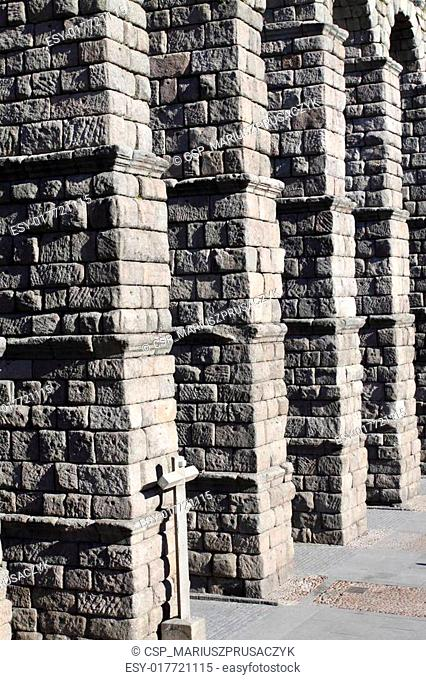 The famous Roman Aqueduct in Segovia in Spain