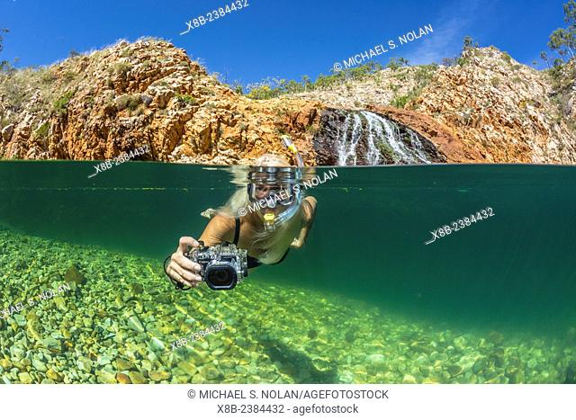 National Geographic Orion staff CT Ticknor enjoying a swim at Crocodile Creek, Yampi Bay, Kimberley, Western Australia, Australia
