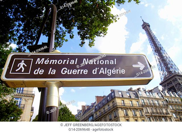 France, Europe, French, Paris, 7th arrondissement, Quai Branly, sign, Memorial National de la Guerre d'Algerie, National Memorial of the war in Algeria