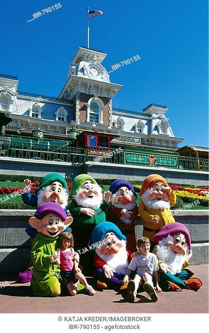 Snow White's seven dwarfs, Disneyworld, Disney World, Orlando, Florida, USA