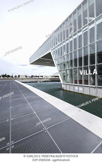 Modernist Architecture of the Villa Mediterranée Conference Center Designed by Stefano Boeri (2013) at Dusk Marseille France