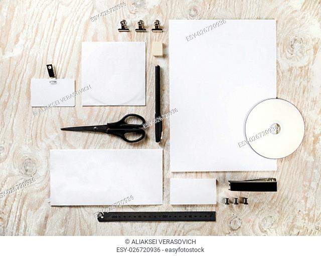 Blank stationery. ID template. Mock-up for branding identity for designers. Top view