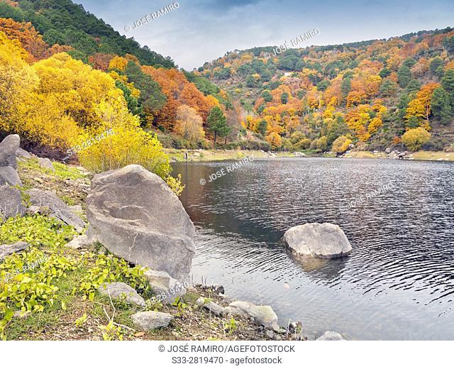 Pajarero reservoir in the Sierra de Gredos. Santa Maria de Tietar. Avila. Castilla Leon. Spain. Europe