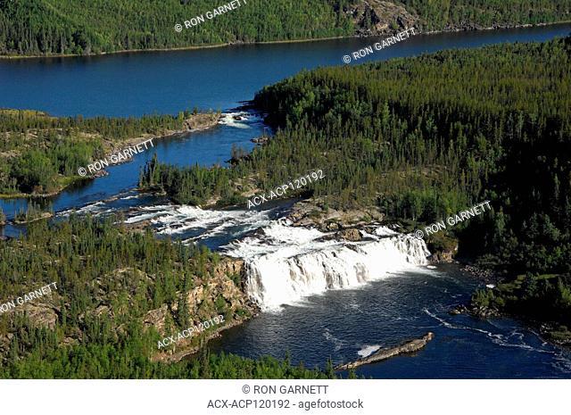 aerial, Lefty's (Hunt) Falls, Fond-du-Lac, Saskatchewan
