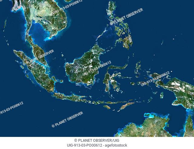 Indonesia, Asia, True Colour Satellite Image With Border. Satellite view of Indonesia with border. This image was compiled from data acquired by LANDSAT 5 & 7...
