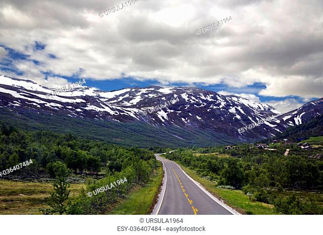 Scenic empty road and beautiful mountains in Norway