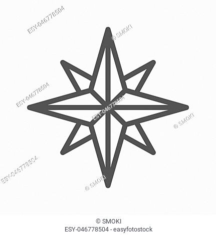 Wind rose thin line vector icon isolated on the white background