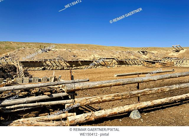 Cattle pen with earthen roof stable at Black Canyon Charyn river Kazakhstan