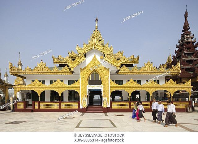 Temple with the Kakusanda Buddha image, interior of the Shwedagon pagoda, Yangon, Myanmar, Asia