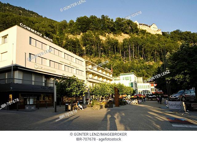 Commerzhaus building, city centre and Vaduz Castle in the background, Vaduz, Liechtenstein, Europe