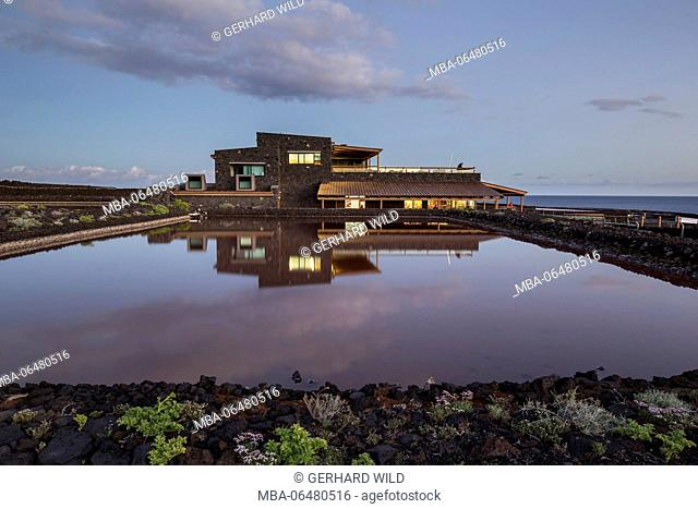 Salt basin with the salines of Fuencaliente, restaurant 'Jardin de la Sal', south coast, La Palma, Canary islands, Spain, evening recording