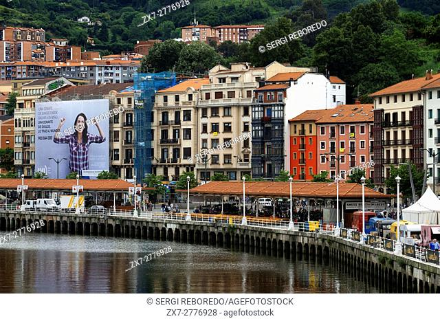 Houses near the Nervion estuary in Bilbao, Biscay, Basque Country, Spain. One of the stops of the Transcantabrico Gran Lujo luxury train