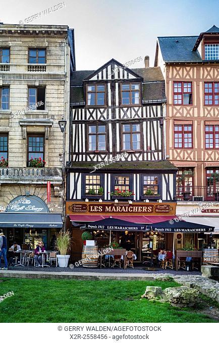 Historic buildings line the historic Place du Vieux Marché in Rouen, France