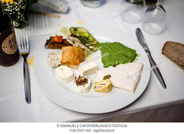 Table with a range of appetizers
