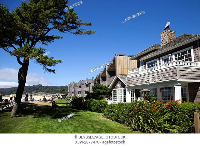 cottages, beach, village of Cannon Beach, Oregon, USA, America