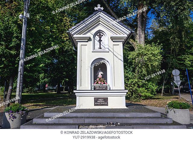 Wayside shrine fo Saint Bruno in Kartuzy town in Kashubia region of Pomeranian Voivodeship in Poland
