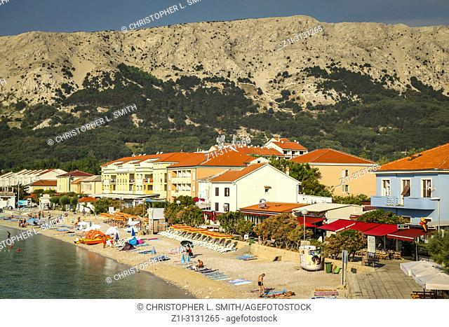 The small seaside resort of Baska on the Croatian island of Krk in the Adriatic