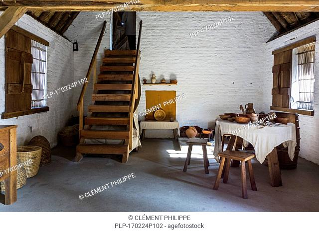 Interior of 15th century fisherman's house at the reconstructed medieval fishing village of Walraversijde, open-air museum at Raversijde, Belgium