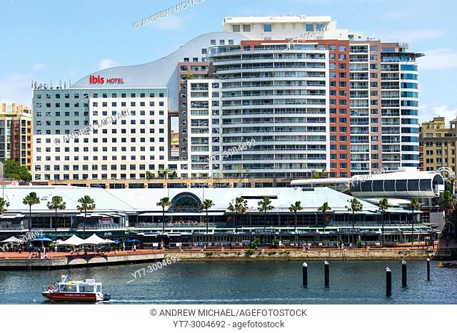 The Ibis Hotel stands above the Harbourside shopping & restaurant complex on Darling Harbour, Sydney, New South Wales, Australia