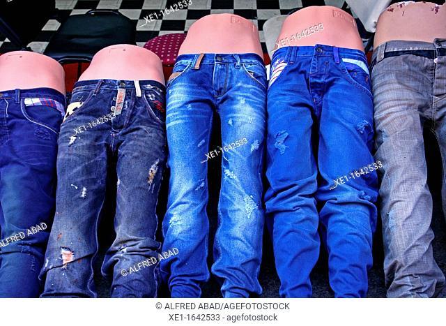 bazaar, jeans, Kadikoy, Turkey