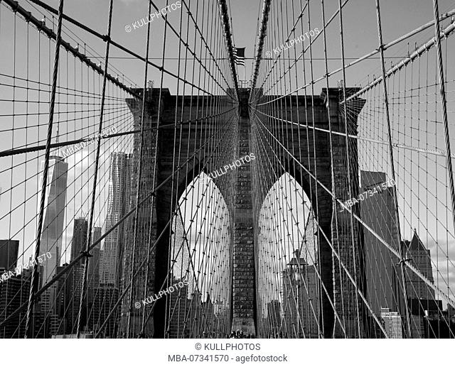 Brooklyn Bride and Manhattan Skyline, New York City, USA