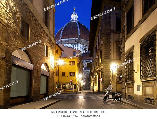 Street of florence and famous cathedral in early morning