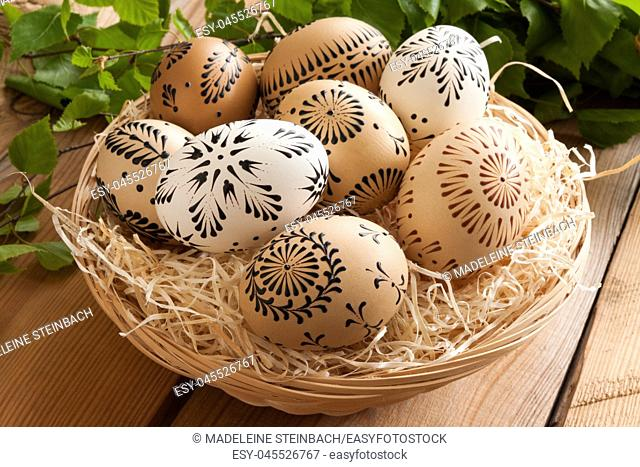 Easter eggs painted with wax - technique typical for certain parts of the Czech Republic