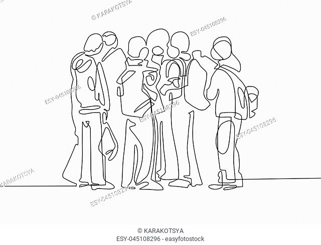 continuous line black and white drawing in minimalistic style, a group of young students communicate with each other, vector illustration