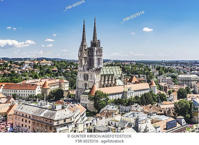 The Cathedral of Zagreb is one of the highest buildings in Croatia. The steeples are 105 metres high, Zagreb, Croatia, Europe