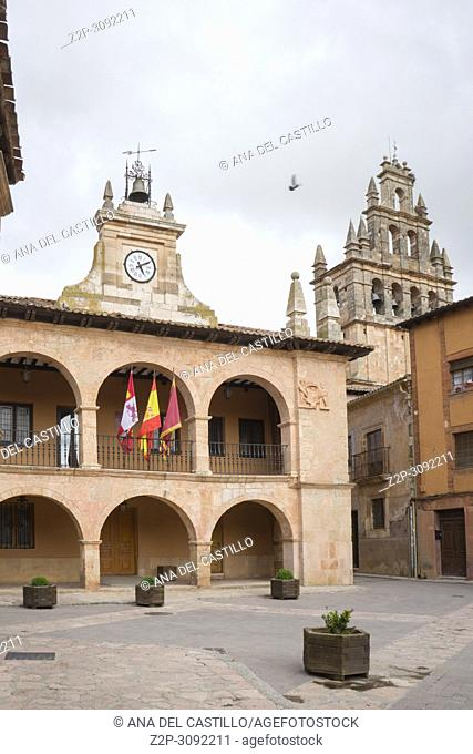 Town hall at Ayllon village Cradle Of The Red Villages Of Segovia Spain. One of the most beautiful villages in Spain