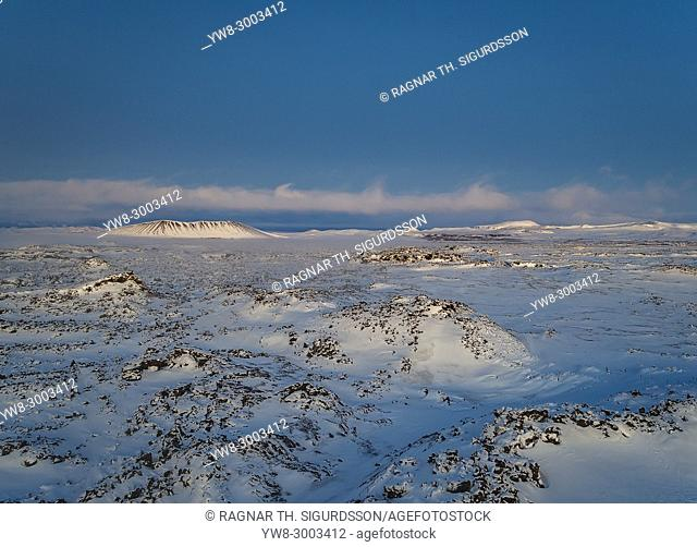 Winter landscape from above, Lake Myvatn area, Northern Iceland