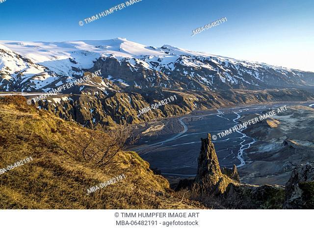 Northern Europe, Iceland, Thorsmörk, view at the volcano Eyjafjallajökull