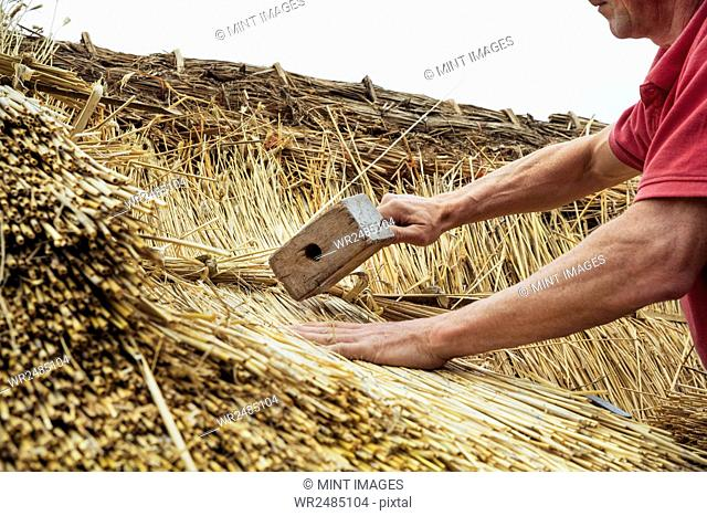 Man thatching a roof, using a wooden mallet to fasten the straw