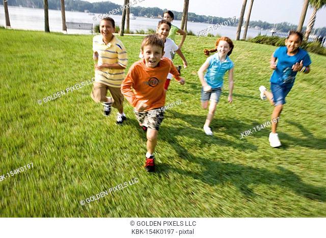 Children running towards the viewer