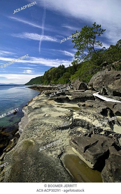 Sandstone rock formations, Hornby Island, The Comox Valley, Vancouver Island, British Columbia, Canada