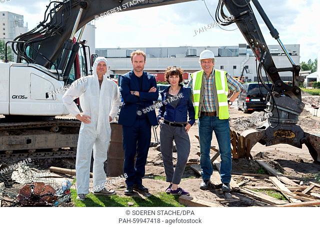 Actor Daniel Krauss as crime scene tech Jansen (L), actor Michael Kind as a construction ladder (R), actress Meret Becker as Chief Inspector Rubin and actor...