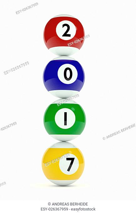 3d rendrings of stacked pool balls with the Year 2017