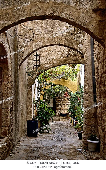 picturesque street in the Chora of the old town, Rhodes town, Rhodes island, Greece