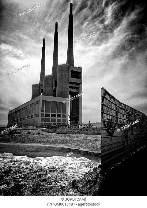 Chimneys of the Thermal Power Station. Sant Adrià de Besòs . Barcelona,Catalonia. Spain