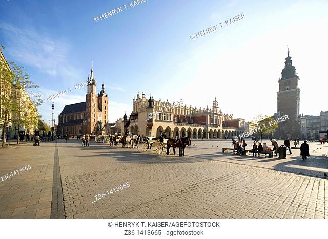 Carriages, The Cloth Hall, St Mary the Virgin Basilica and Town Hall at Main Market Square, Krakow, Poland, Europe