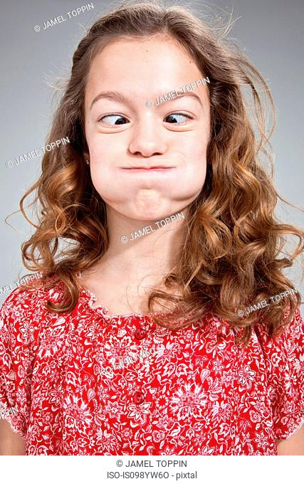 Girl pulling funny face