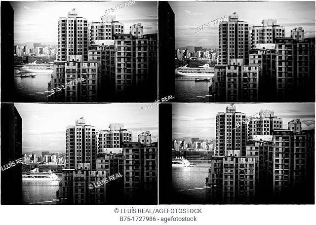 composicion digital de vista general de la bahia de Hong Kong, Asia, China , digital composition of a General view of the bay of Hong Kong, Asia, China