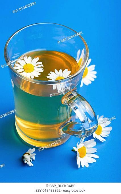 camomile tea over blue