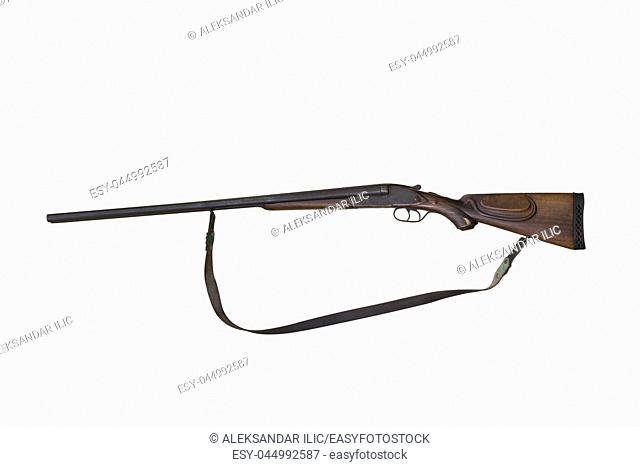 Vintage Double Barreled Hunting Gun From 1900s Isolated On White Background